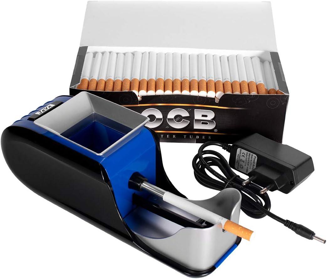 JeVx Maquina Liadora de Tabaco + 200 Tubos con Filtro OCB - Entubador Electrico para LLenado de Cigarros Entubar Cigarrillos de Fumar entubadora Electrica para liar
