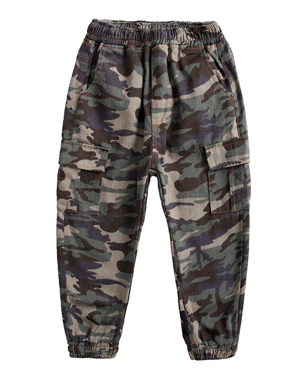 4-13 Years Koupa Boys Cargo Pant Elastic Waist Cotton Jogger Pants for Kids