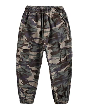 5d61cde9a0 Amazon.com: Koupa Boy's Cargo Pant Elastic Waist Cotton Jogger Pants for  Kids (4-13 Years): Clothing