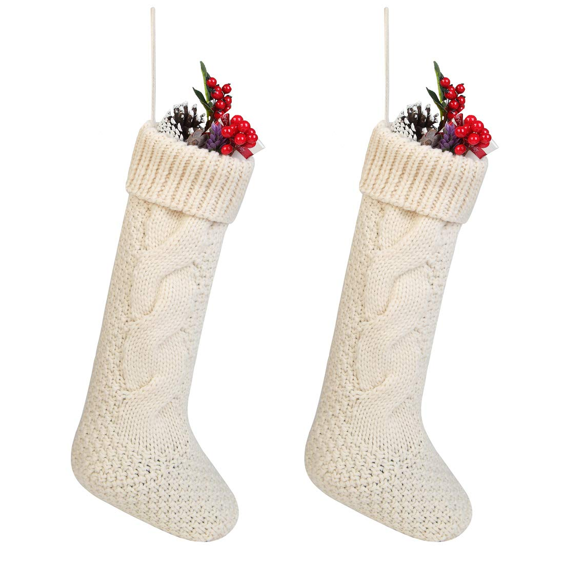 Toes Home 17 inch Knitted Christmas Stockings, Pack 2 Xmas Gift Bags Cream