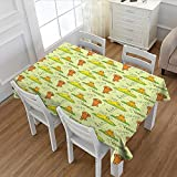 PriceTextile Cat Customized Tablecloth Cute Cartoon Cats Practicing Yoga on Green Backdrop Meditation Healthy Living Stain Resistant Wrinkle Tablecloth Green Orange Yellow 52''x70''
