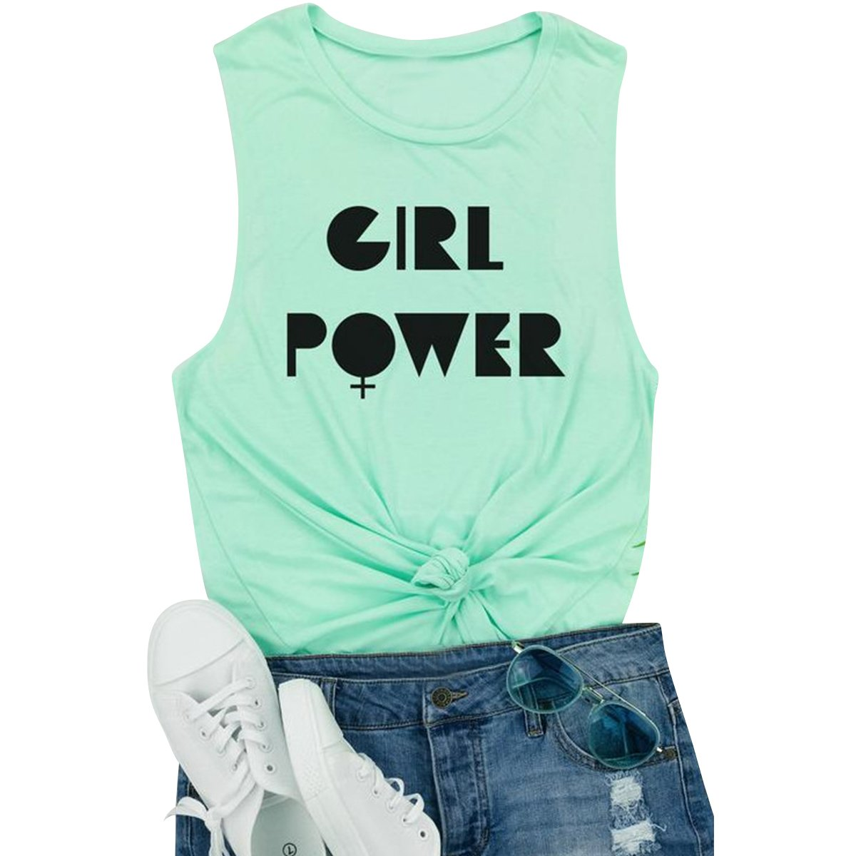 Girl Power Letter Stampa Senza Maniche O-Collo Canotte T-Shirt Canotta Racerback Prettyp