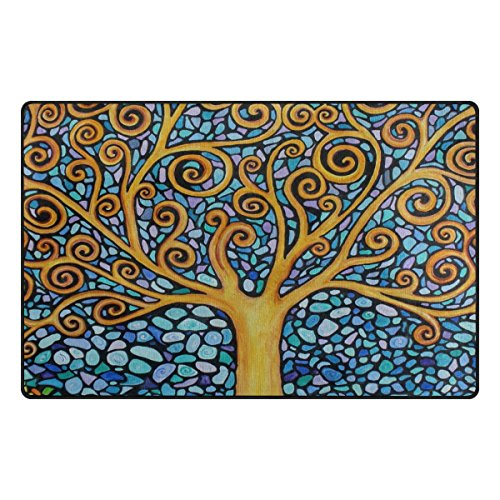 INGBAGS Super Soft Modern Tree Of Life Area Rugs Living Room Carpet Bedroom Rug for Children Play Solid Home Decorator Floor Rug and Carpets 60 x 39 Inch