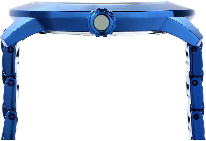 Perry Ellis Slim Line Montre Homme Lumineux à Quartz 42mm étanche avec Bracelet en Acier Inoxydable Bleu Marine avec Cadran Vert
