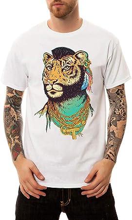 RUIXIAO Camiseta de algodón de Verano Masculina Cadena de Oro ...
