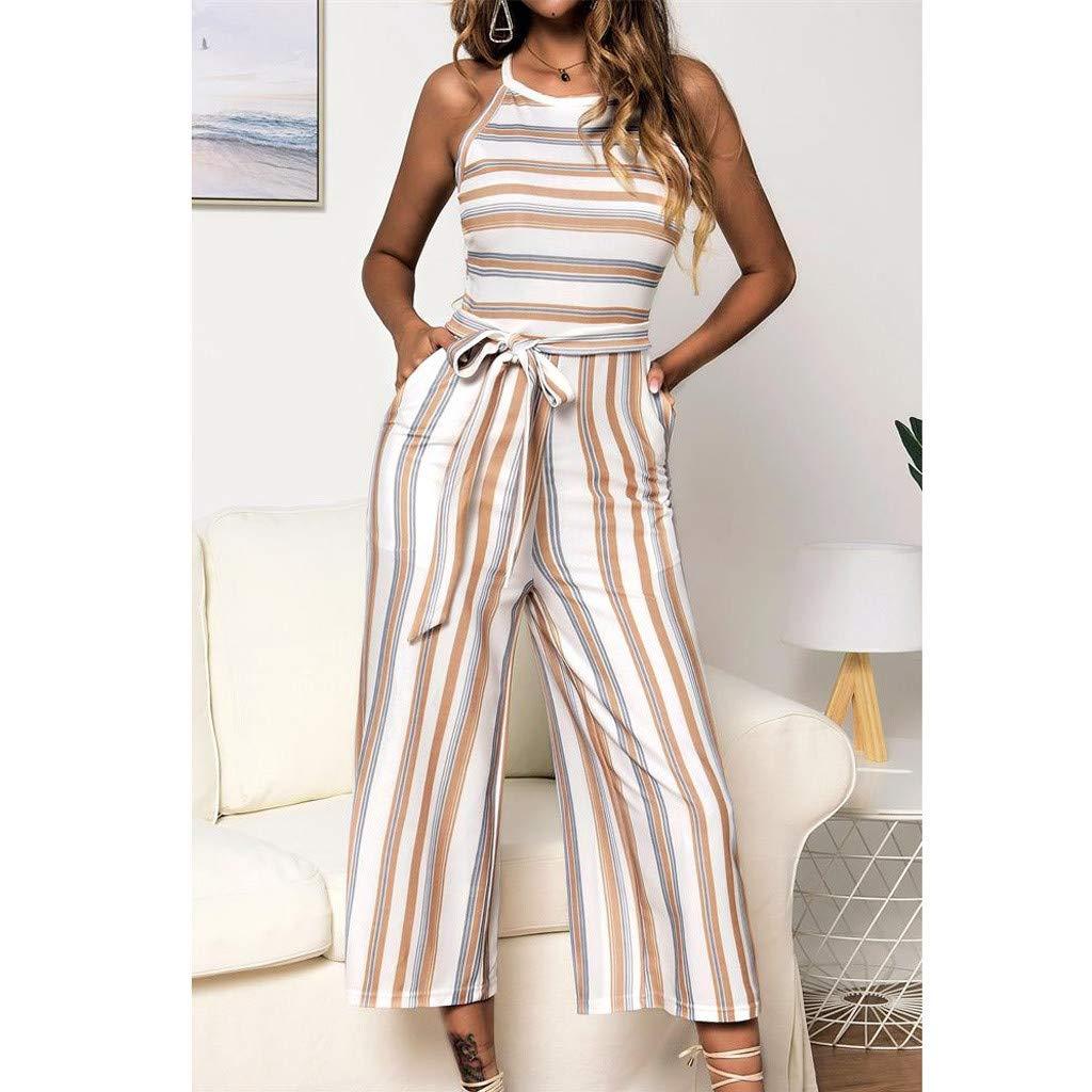 ◐OFEFAN◑ 2019 Womens Striped Sleeveless Waist Belted Zipper Back Wide Leg Loose Jumpsuit Romper with Pockets Blue