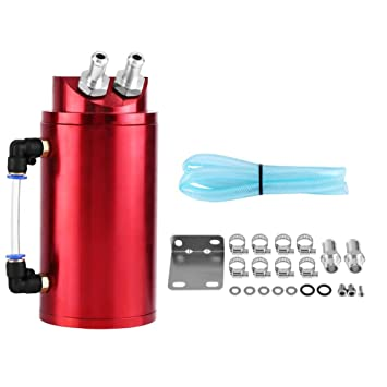 SUNROAD Universal Aluminum Oil Catch Can Polish Baffled Reservoir Tank with Breather Filter Auto Dual Cylinder Engine Air Oil Separator Tank Red
