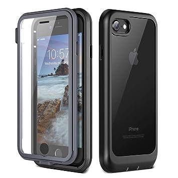 Prologfer Funda para iPhone 7 360 Grados Transparente Carcasa Resistente con Protector de Pantalla incorporada Prueba de Golpes y Suciedad Cover para ...