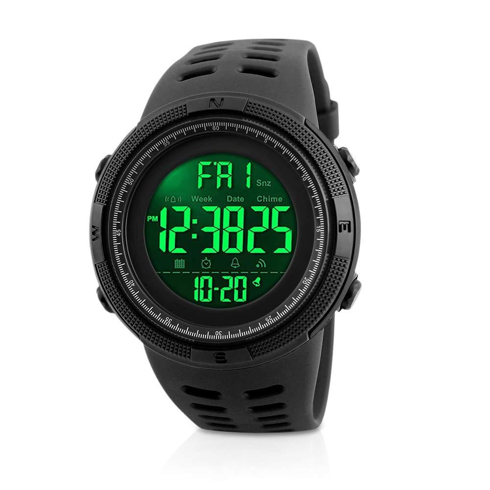 Mens Sports Digital Watch, Welltop Waterproof Sports Watch Outdoor Running Watch with LED Backlight, Timer, Alarm, Sport LED Wrist Watch for Men