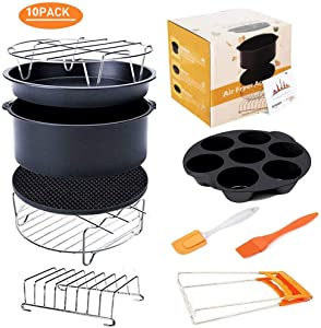 Deep Fryers Universal Air Fryer Accessories Including Cake Barrel,Baking Dish Pan,Grill,Pot Pad, Pot Rack with Silicone Mat by Bellagione (8 inch10 PCS)