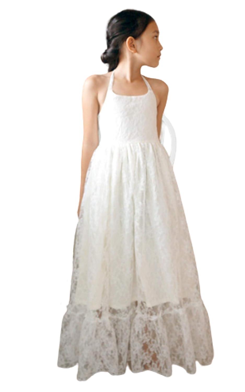 Amazon.com: Boho girls dress Lace flower girl dress Beach girl dress junior  bridesmaid dresses: Handmade