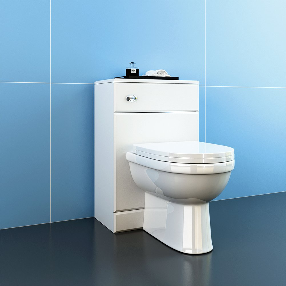 Sunny Modern Bathroom White Slimline Back to Wall Toilet Cistern ...