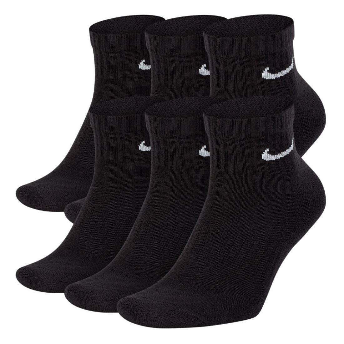 NIKE Everyday Performance Training Socks (6-Pair) (L (Men's 8-12 / Women's 10-13), Ankle(Quarter) Black)
