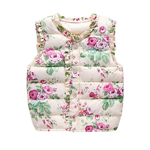 39bcdc98922e Amazon.com: Baby Girls Winter Outerwear Kids Floral Jacket Warm Cotton Vest  Coats Waistcoats: Clothing