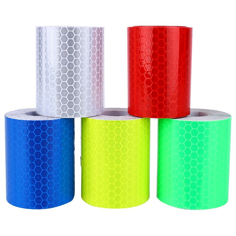 5 PCS Reflective Warning Tape, 2''X10' 3M Safety Color Lattice Reflective Sheet Film Sticker Conspicuity Adhesive Tape Rubberized Fabric Roll