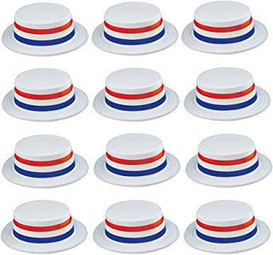 American Patriotic USA Blue White Red Plastic Skimmer Party Hat