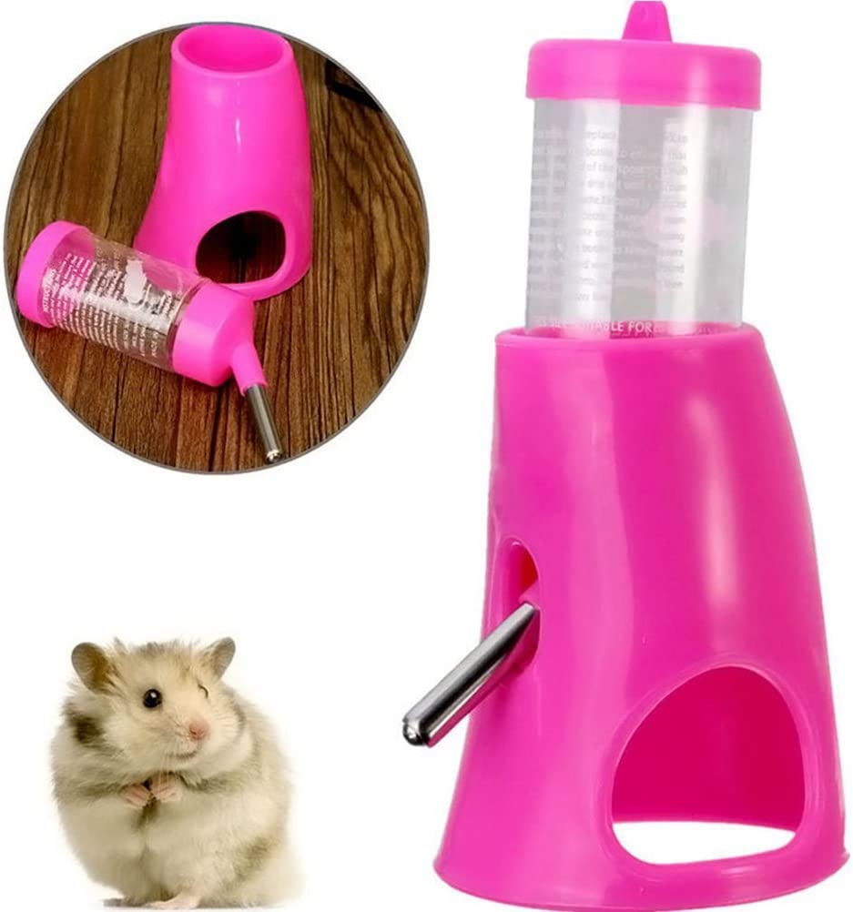 Pink UKCOCO Small Animal Hideout Pet Hideout Drinking 2 in 1 Water Bottle with Plastic Base Hut Living Habitat for Dwarf Hamster