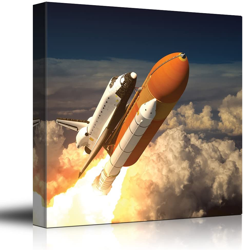 wall26 - NASA's Rocketship Being Launched to Outer Space - Canvas Art Home Decor - 24x24 inches