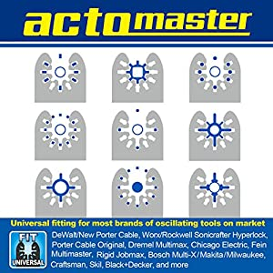 ACTOMASTER Titanium Coated Bi-Metal Oscillating Saw Blade for Oscillating Tools Multitools, Pack of 3