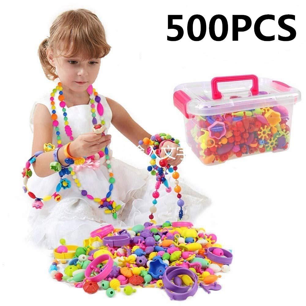 Kids Snap Beads Set - Creative DIY Jewelry Making Kit Girls Necklace Bracelet Art Crafts Gifts Toys - 500 Pcs