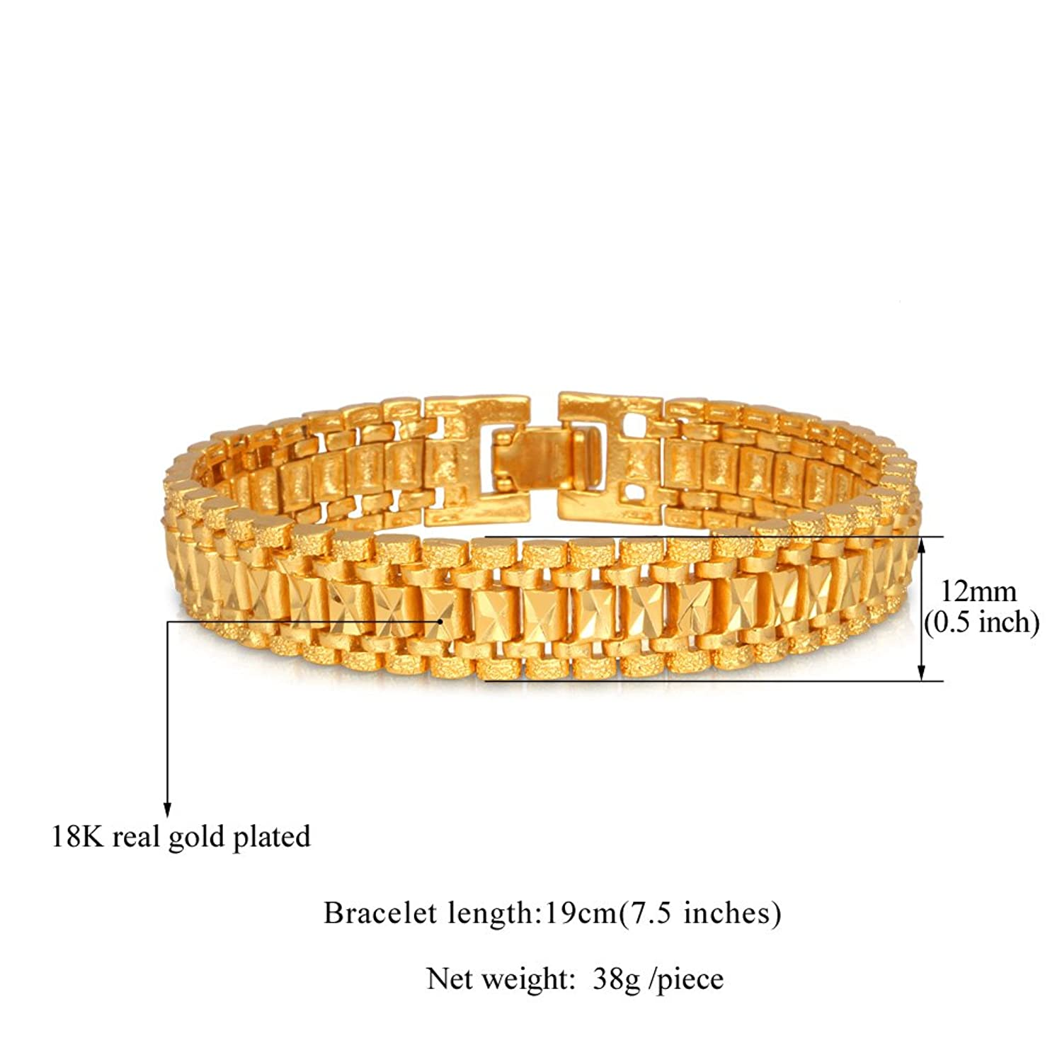 Amazon.com: U7 Jewelry Wrist Chain 18K Yellow Gold Plated Men ...