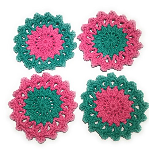 of Four Pink and Aqua Jade (Jade Coaster)