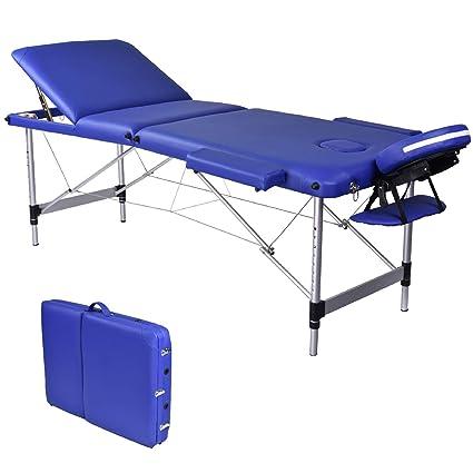 Wellhome Lettino Da Massaggio 3 Zone Alluminio Pieghevole Portatile