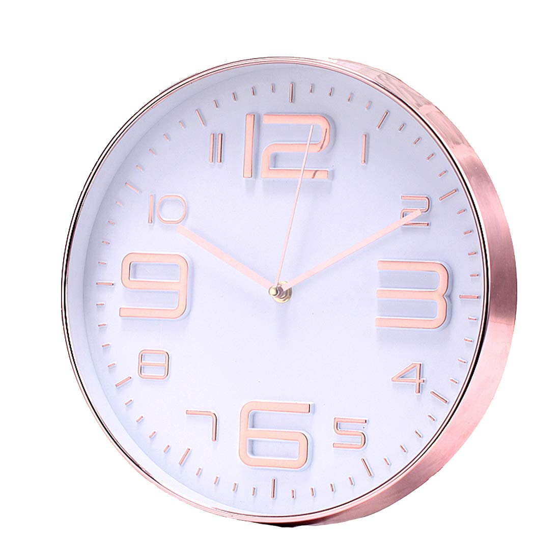 LONBUYS Rose Gold Silent Wall Clock,12 Inch No Ticking Quartz Clock 3D Numbers Battery Operated Round Easy to Read Modern Wall Clock Decor for School, Living Room,Bedroom,Office