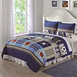 2pc MVP Kids Sports Themed Quilt Twin Set, Soccer Football Baseball Prints, Color Blue, Khaki Demin All Sports Bedding, Patchwork Sports Pattern