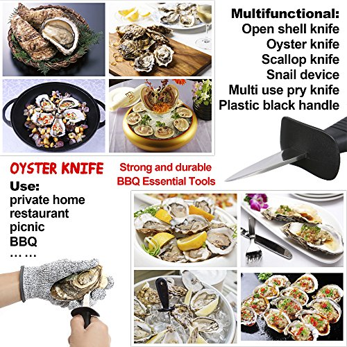 Oyster Knife Shucker Cut Resistant Glove Set Level 5 Protection Stainless Steel Clam Shellfish Seafood Opener EN388 Certified Food Grade by AmHoo (1 pair gloves + 2 knives) (L) by AmHoo (Image #2)