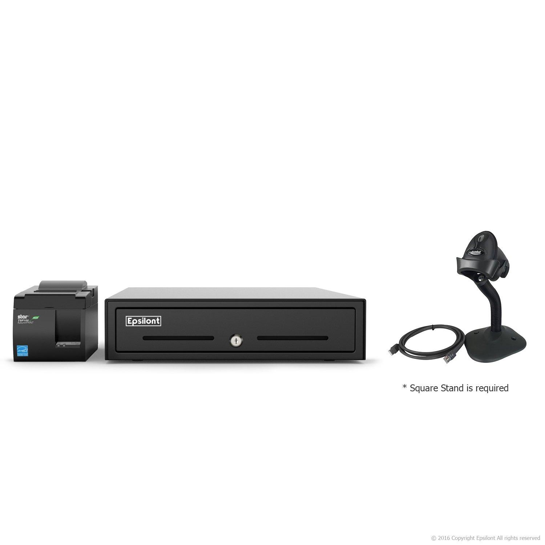 SQUARE POS HARDWARE BUNDLE - Star Micronics TSP143IIU USB Receipt Printer, Motorola LS2208 USB Scanner with Stand and Epsilont Cash Drawer (Black)
