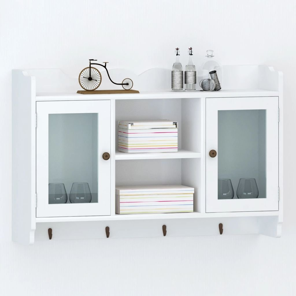 Furniture Shelving Wall Shelves & Ledges White MDF Wall Cabinet Display Shelf Book/DVD/Glass Storage by romelarus