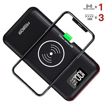 KEDRON 24000mAh Cargador Batería Externa Cargador Inalámbrico Rápido Power Bank con 3 Puertos y Entrada Doble Portátil Wireless Charger para ...