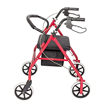Amazon.com: Andador con ruedas con 4 ruedas, asiento ...