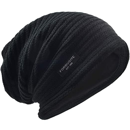 b807605f37a VECRY Men s Slouchy Beanie Knit Crochet Rasta Cap for Summer Winter (Black)