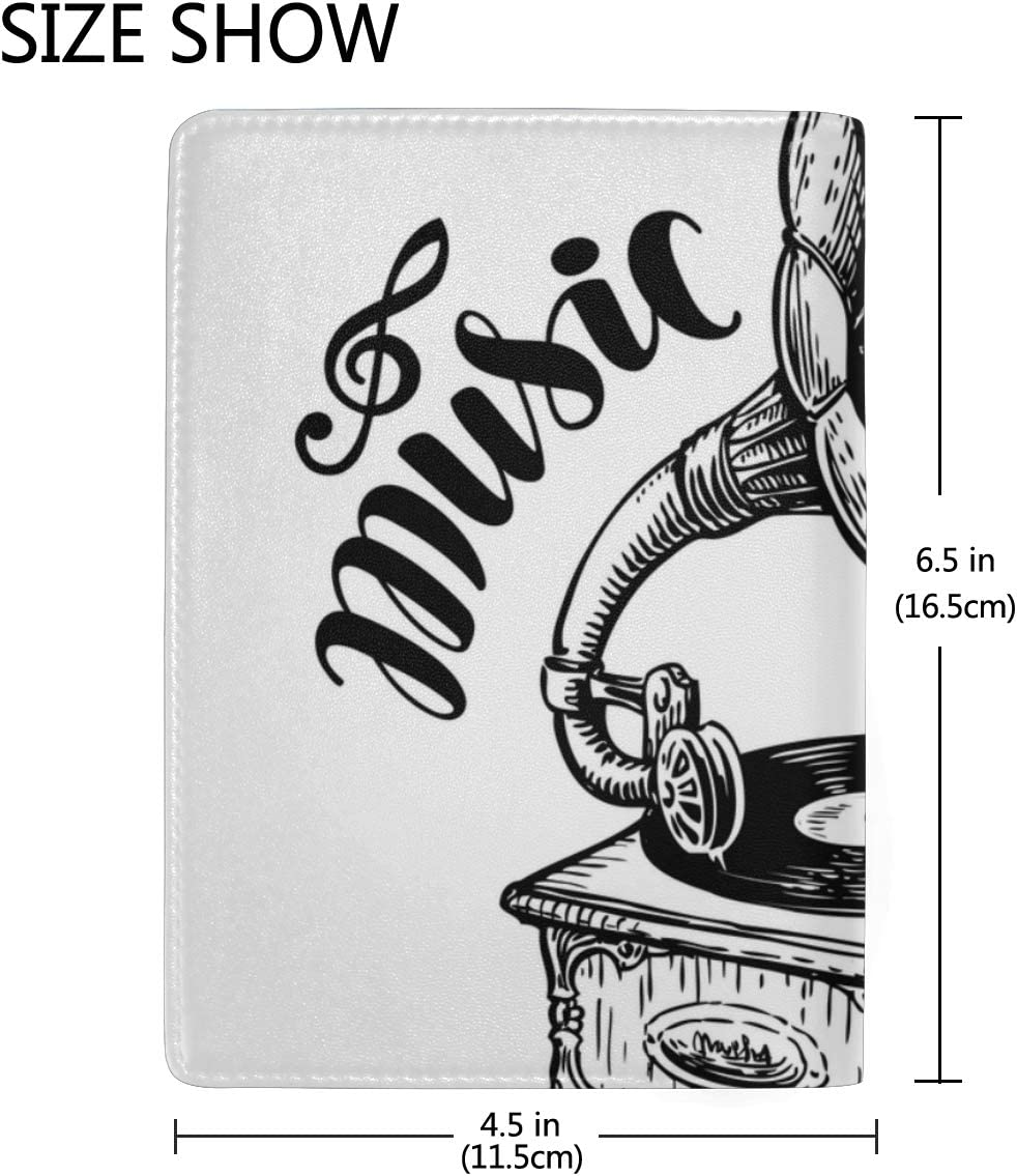 Hand-drawn Gramophone With Music Blocking Print Passport Holder Cover Case Travel Luggage Passport Wallet Card Holder Made With Leather For Men Women Kids Family