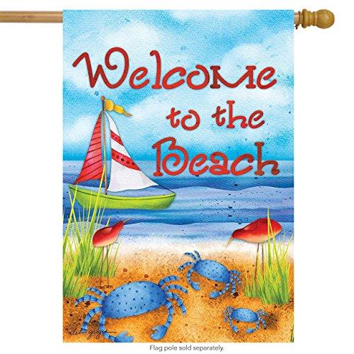 Briarwood Lane Welcome to The Beach Summer House Flag Nautical Sailboat Crabs 28 x 40