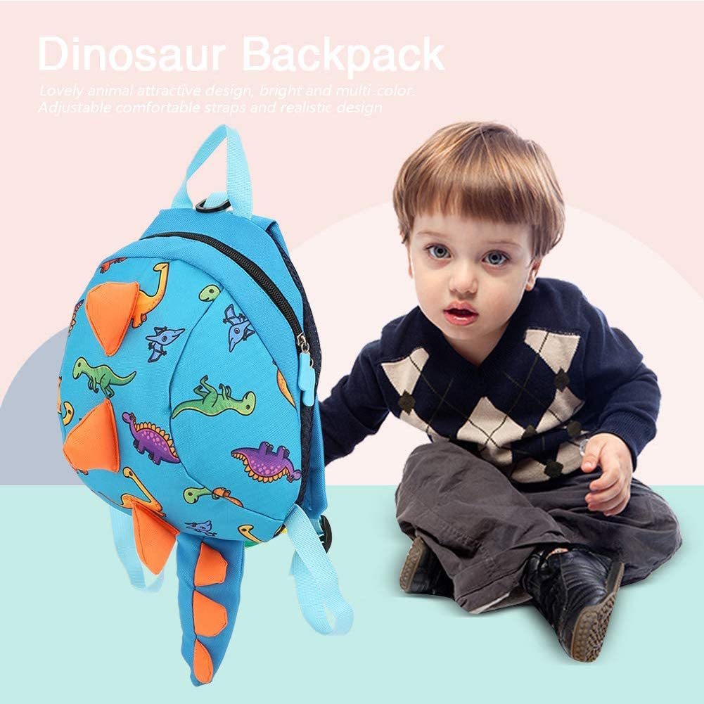 WENTS Toddler Boys Girls Kids Dinosaur Backpack Blue Dinosaur Backpacks Cartoon Safely Anti-Lost Strap Rucksack with Reins