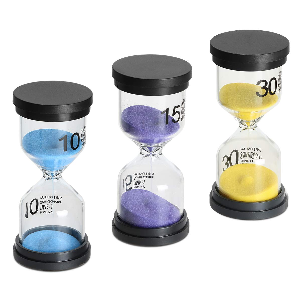 Sand Timer 3 Pack,Sageme Hourglass Timer Sandglass Hourglass Sand Clock 10/15 / 30 Minutes for Kids, Classroom, Kitchen, Games, Brushing Timer, Home Office Decoration Timers (10/15 / 30 Minutes)