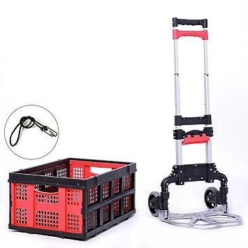Carro De Mano Plegable De Aluminio De 2 Ruedas con Carro De Mano/con Caja Plegable Y Desmontable: Amazon.es: Deportes y aire libre
