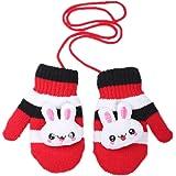 Moolecole Cute Rabbit Warm Gloves Baby Boys Girls Toddler Children Kids Mitten Knitted Gloves Red