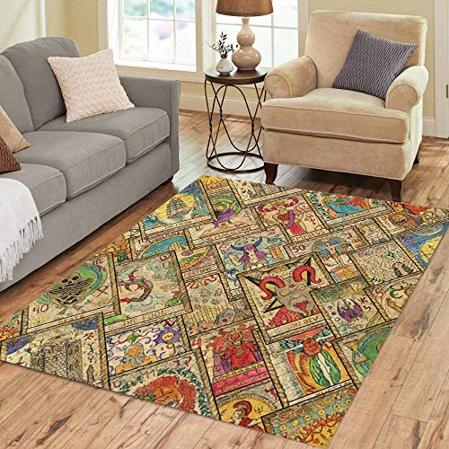 Semtomn Area Rug 2' X 3' Tarot in Diagonal Occult Esoteric Divination and Wicca Mystic Home Decor Collection Floor Rugs Carpet for Living Room Bedroom Dining Room