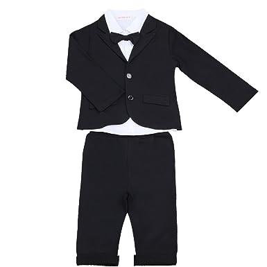 TiaoBug Bébé Enfant Garçon 3 Pcs Smoking Costume Mariage Soirée Cérémonie  Baptême Chemise à Manche Longue 0b32059fe66