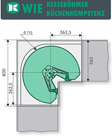 Sotech SO-Tech/® Kesseb/öhmer REVO 90/° Herraje para Armarios Rinconeros de 80 cm