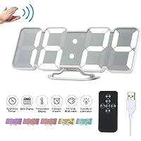 Decdeal Horloge Murale LED 3D Réveil Numérique Électronique USB sans Fil RVB Réveil à Affichage Horloge de Bureau de L'heure/Température/Date/Horloge Télécommande Infrarouge - Noir