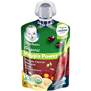 Gerber Purees Organic Pouch, Purple Carrot, Banana & Acai with Cardamom, 3.5 Ounces (Pack of 12)