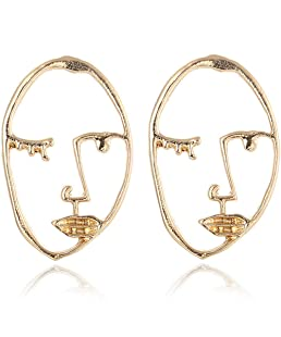 BOER INC Human Face Earrings Unique Abstract Art Dangle Stud Earring Fashion Geometric Drop Hoops Studs Earrings with Face Rings for Party Birthday Valentine's Day Christmas Gift (B Style)
