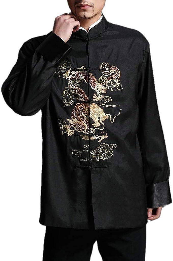 Chaqueta de Kung Fu para Hombre de Color Rojo Camisa Acolchada de Dragón - 100% de Seda #104: Amazon.es: Ropa y accesorios