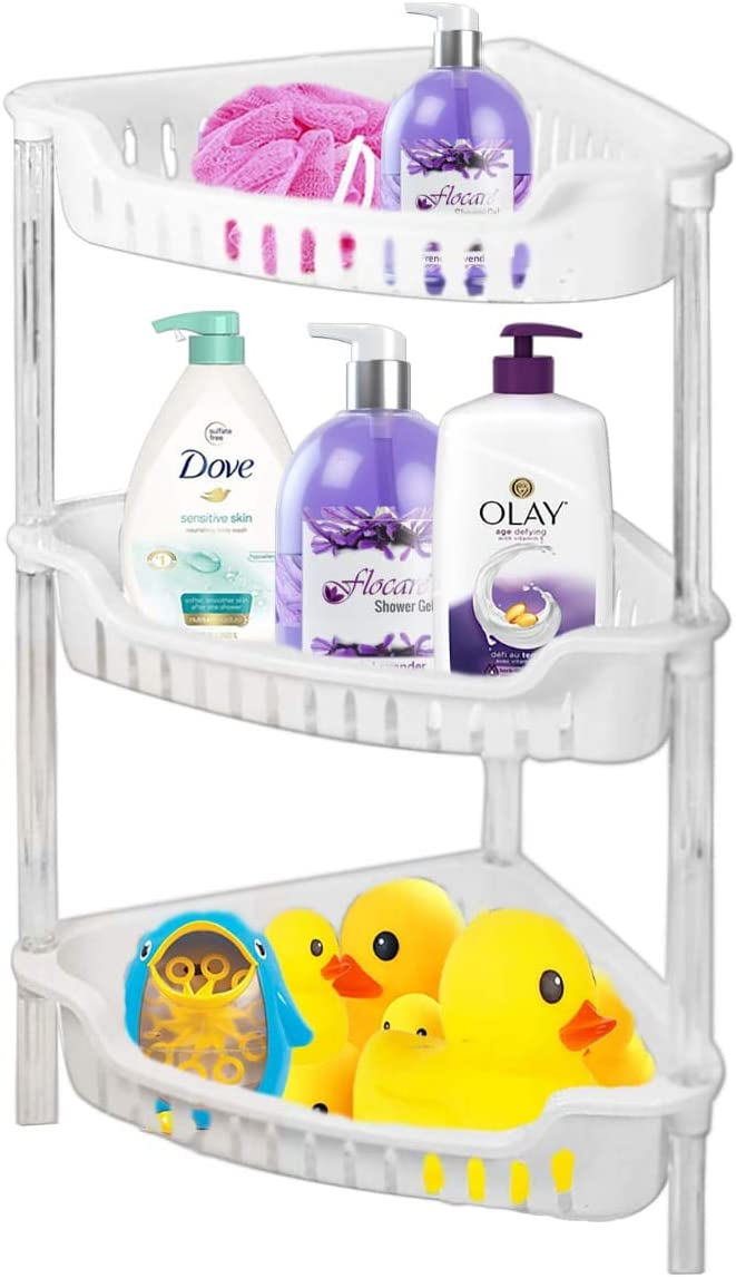 ADEPTNA Strong White Plastic Shower Caddy Corner Shelf Bathroom Rack Kitchen Storage Unit - Quick to Build - Easy to Clean (3 TIER BATH RACK)