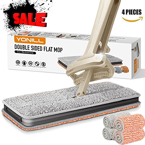 YONILL Double Sided Flat Mop, Easy Self Wringing Floor Mop Wet and Dry Flip Lazy Mop for Cleaning Tile and Hardwood Floor (A Total of 4 Microfiber Mop Pads) Flat Mop
